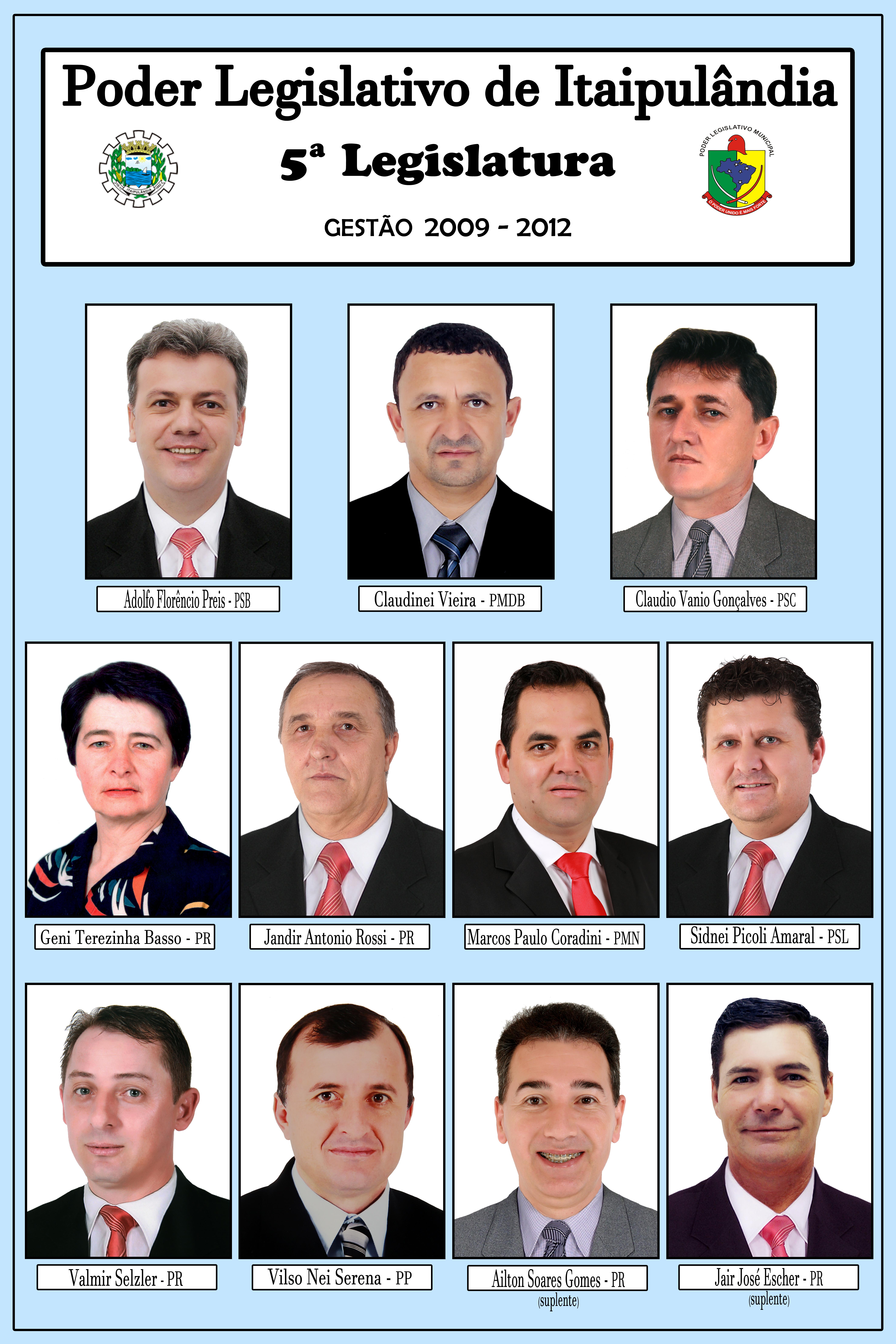 Lotário Oto Knob (1 de janeiro de 2009 à 23  de setembro de 2011)/  Cláudio Vânio Gonçalves (23 de setembro 2011 a 04 de novembro de 2011) /Sidnei Picoli Amaral (04 de Novembro a 31 de dezembro de 2012)