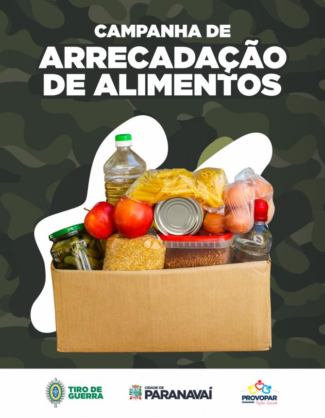 Tiro de Guerra de Paranavaí inicia Campanha de Arrecadação de Alimentos nesta sexta