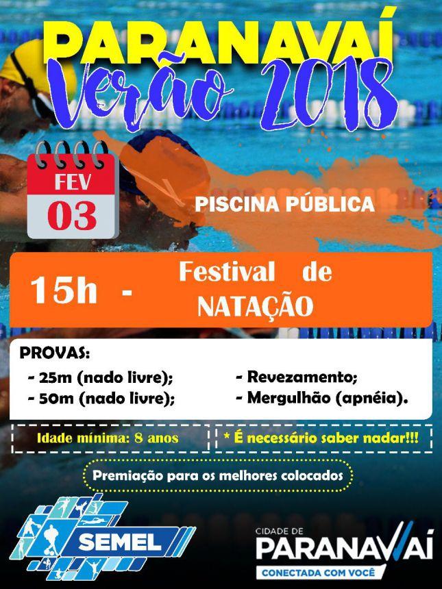Sábado tem Festival de Natação do Projeto Paranavaí Verão 2018
