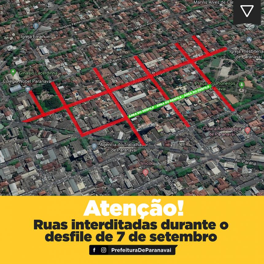 Oito ruas terão trechos impedidos para o Desfile Cívico de 7 de setembro