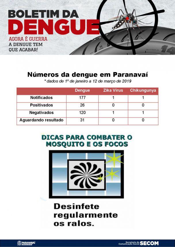 Boletim da Dengue - 1º de janeiro a 12 de março de 2019