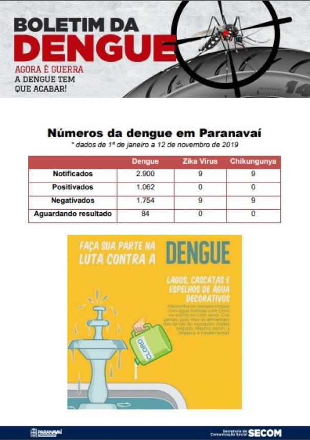 Boletim da Dengue - 1º de janeiro a 5 de novembro de 2019
