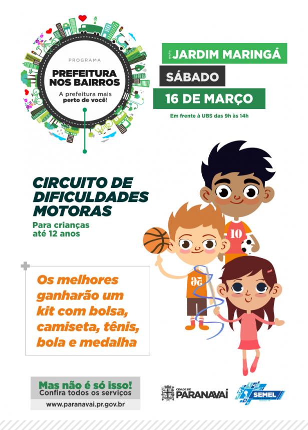 Prefeitura nos Bairros terá apresentações culturais e circuito esportivo para crianças