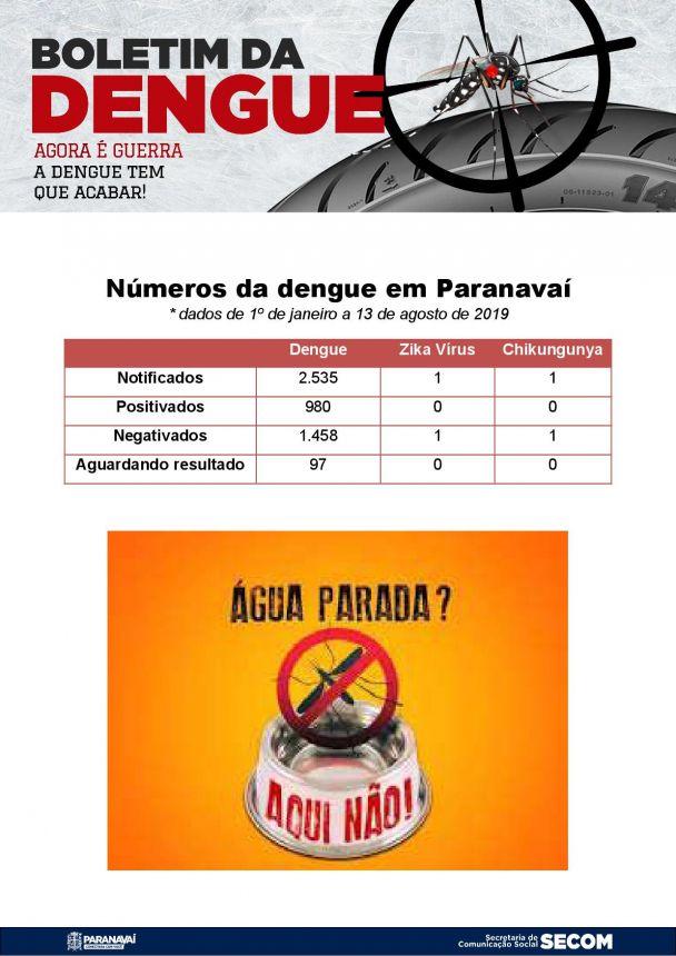 Boletim da Dengue - 1º de janeiro a 13 de agosto de 2019