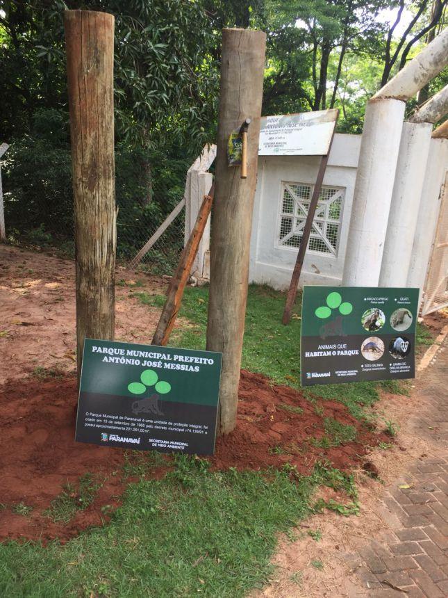 Meio Ambiente instala placas informativas no Bosque Municipal