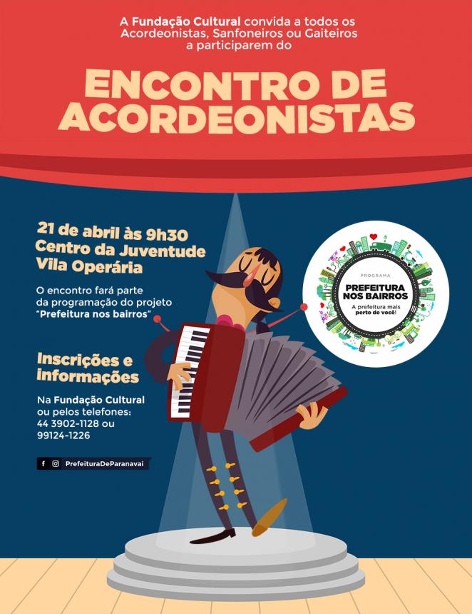 Prefeitura nos Bairros terá Encontro de Acordeonistas na Vila Operária