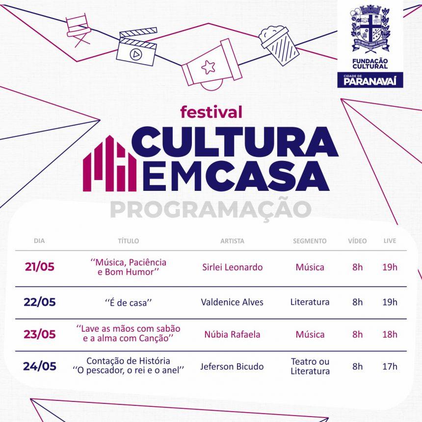 Terceira semana do Festival Cultura em Casa terá música, Contação de Histórias e literatura