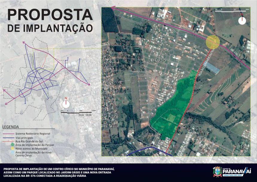 Prefeitura planeja construção de Centro Cívico e nova entrada da cidade via BR-376