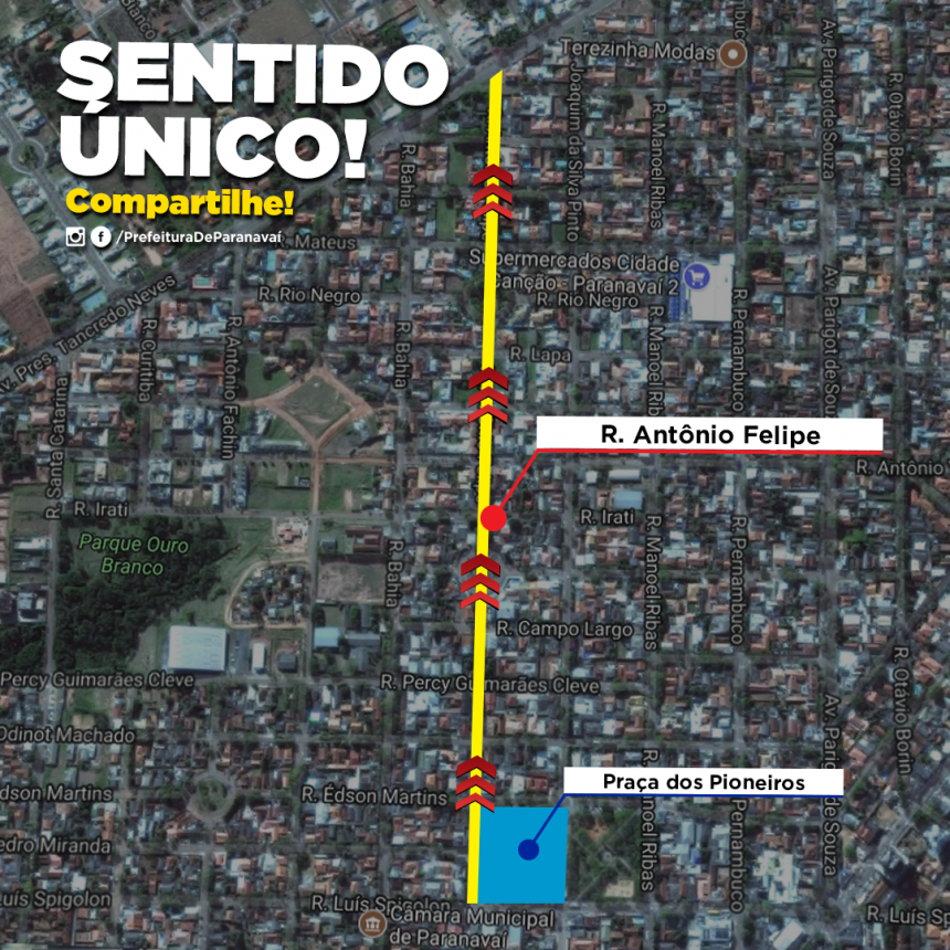 Rua Antônio Felippe passa a ter sentindo único esta semana