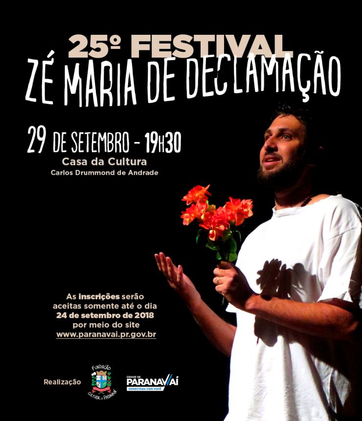 Prazo para se inscrever no 25º Festival Zé Maria de Declamação termina segunda-feira