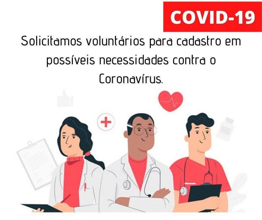 Município abre inscrições de voluntários para o enfrentamento ao Covid-19