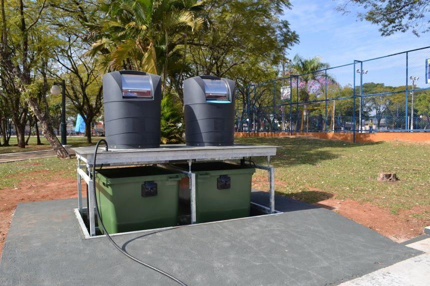 Primeira lixeira soterrada da cidade pode ser utilizada na Praça dos Pioneiros
