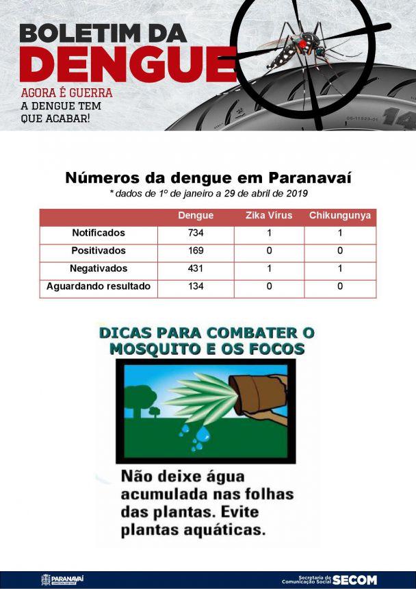 Boletim da Dengue - 1º de janeiro a 29 de abril de 2019