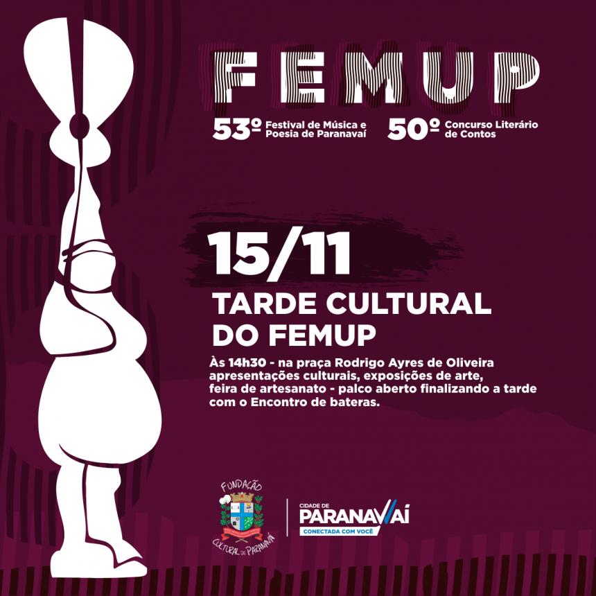 Artistas podem se inscrever para se apresentar na Tarde Cultural do Femup